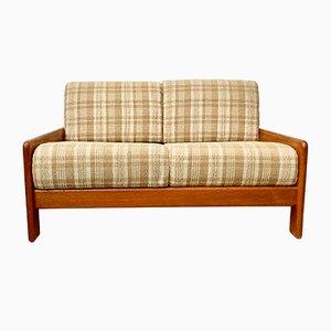 Französisches Vintage 2-Sitzer Sofa aus Stoff und Teak, 1970er