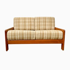 Vintage French Fabric and Teak 2-Seater Sofa, 1970s