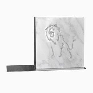 Fermalibri Zodiac Sign in marmo bianco e acciaio, 2019, set di 2