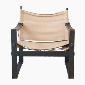 Danish Burlap & Pine Safari Armchair by Borge Jensen, 1960s