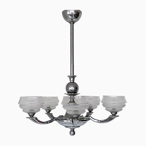 Art Deco Chrome & Textured Glass Chandelier