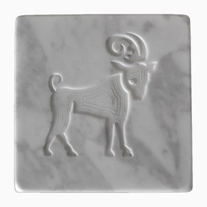 White Marble Zodiac Sign Paperweight from Cupioli Luxury Living