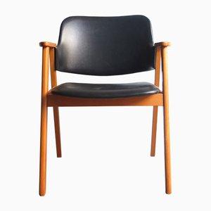 Schwarzer Armlehnstuhl aus Kunstleder, 1960er