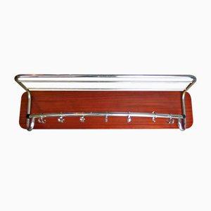 Appendiabiti in metallo cromato e legno, anni '50