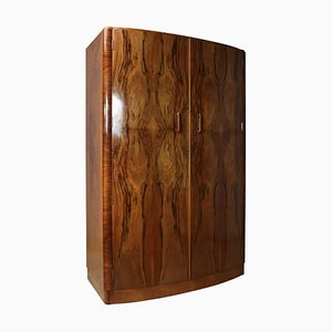 Art Deco Walnut Bow-Fronted 2-Door Wardrobe, 1920s