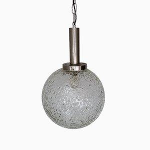 Lampe à Suspension Globe Tchécoslovaque Mid-Century en Verre Texturé