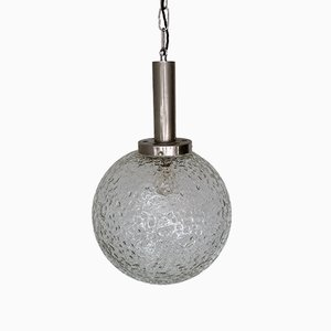 Mid-Century Czech Textured Glass Globe Pendant Lamp