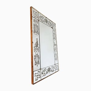 Antique Venetian Mirror with Acid Etched Pattern
