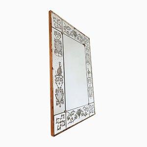 Miroir Vénitien Antique avec Motif Gravé à l'Acide