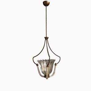 Italienische Art Déco Deckenlampe aus Muranoglas von Ercole Barovier, 1930er