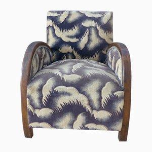 Französischer Art Deco Holz und Velours Sessel, 1930er