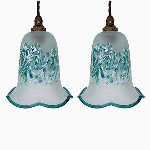 Plafonniers Tulipe Vintage à Motif Turquoise, Set de 2