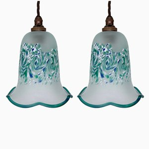 Vintage Turquoise Patterned Tulip Ceiling Lamps, Set of 2