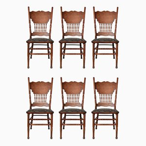Vintage Ash Dining Chairs, 1920s, Set of 6