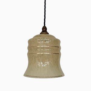 Hellgelbe Vintage Clichy Deckenlampe aus Glas mit goldenen Bändern