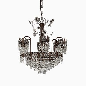 Large Vintage French Brass & Glass Chandelier