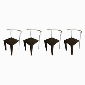 Italian Plastic and Steel Dr Glob Dining Chairs by Philippe Starck for Kartell, 1980s, Set of 4
