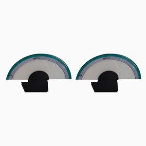 Braune Tischlampen aus Glas, 1980er, 2er Set