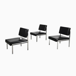 Minimalist German Chrome and Leather Modular Lounge Chairs from Brune, 1970s, Set of 3