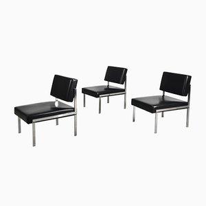 Minimalistische modulare deutsche Sessel aus Chrom & Vinyl von Brune, 1970er, 3er Set