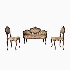 Italienisches Vintage Walnuss Sofa und Sessel Set, 1920er