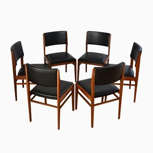 Teak and Vinyl Dining Chairs by Gerhard Berg, 1960s, Set of 6