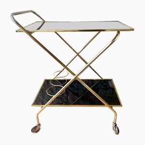 Mid-Century Brass Bar Cart with Plexiglas Trays, 1960s
