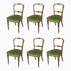 Viktorianische Esszimmerstühle aus Nussholz, 6er Set