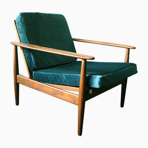 Mid-Century Danish Turquoise Velvet Lounge Chair, 1960s