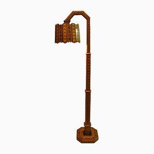 Handgemachte Mid-Century Stehlampe aus Holz mit Intarsien, 1950er
