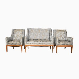 Vintage Ash Sofa & Chairs Set, 1930s