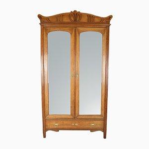 Antiker französischer Art Déco Kleiderschrank aus Glas, Messing & Spiegelglas