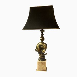 French Brass Horsehead Table Lamp from Maison Charles, 1970s