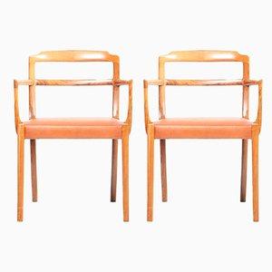 Dänische Armlehnstühle aus Leder & Palisander von Ole Wanscher für Cado, 1960er, 2er Set