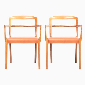 Danish Leather and Rosewood Armchairs by Ole Wanscher for Cado, 1960s, Set of 2