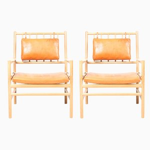 Mid-Century Patinated Leather & Elm Lounge Chairs by Arne Norell, 1960s, Set of 2