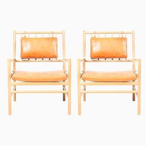 Patinierte Mid-Century Sessel aus Leder & Ulmenholz von Arne Norell, 1960er, 2er Set