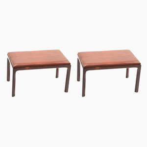 Mid-Century Patinated Leather and Rosewood Stools by Kai Kristiansen for Aksel Kjersgaard, 1960s, Set of 2