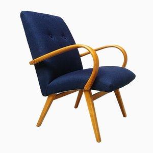 Dänischer Mid-Century Sessel aus Buche & Blauer Baumwolle, 1960er