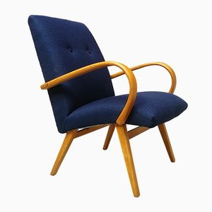 Mid-Century Danish Beech and Blue Cotton Lounge Chair, 1960s