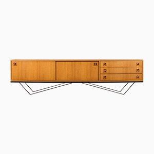 Großes minimalistisches Sideboard aus Stahl & Teak, 1960er