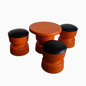 Italian Plastic and Eco-Leather Coffee Table & 3 Stools Set, 1970s