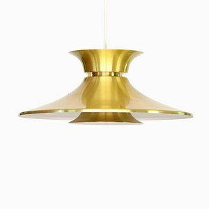 Vintage Danish Brass-Colored Aluminum Ceiling Lamp, 1970s