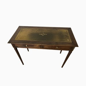 Art Deco French Leather & Walnut Desk, 1920s