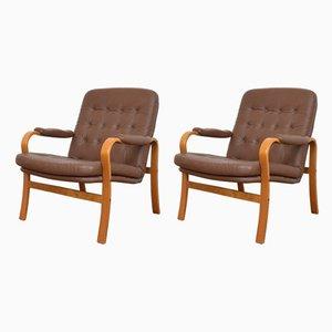Armlehnstühle aus Bugholz & Leder von Göte Möbler, 1960er, 2er Set