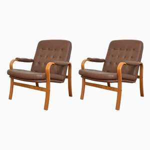 Bentwood and Leather Armchairs from Göte Möbler, 1960s, Set of 2