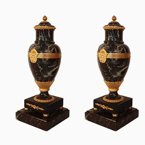 Antique Empire Green Marble and Gilded Bronze Vases, Set of 2