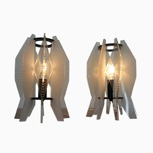 Vintage Plexiglas Space Age Table Lamps, 1970s, Set of 2