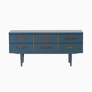 Vintage Scandinavian Blue Teak Sideboard, 1960s