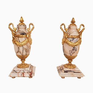 Large Antique Marble Vases in Gilt Bronze Mounts, Set of 2